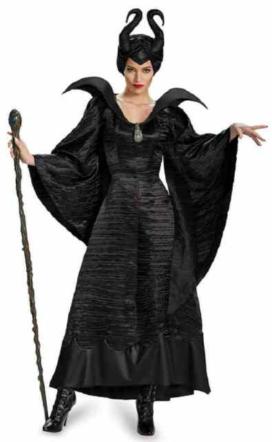 Maleficent Christening Black Gown Disney Movie Halloween Deluxe Adult Costume