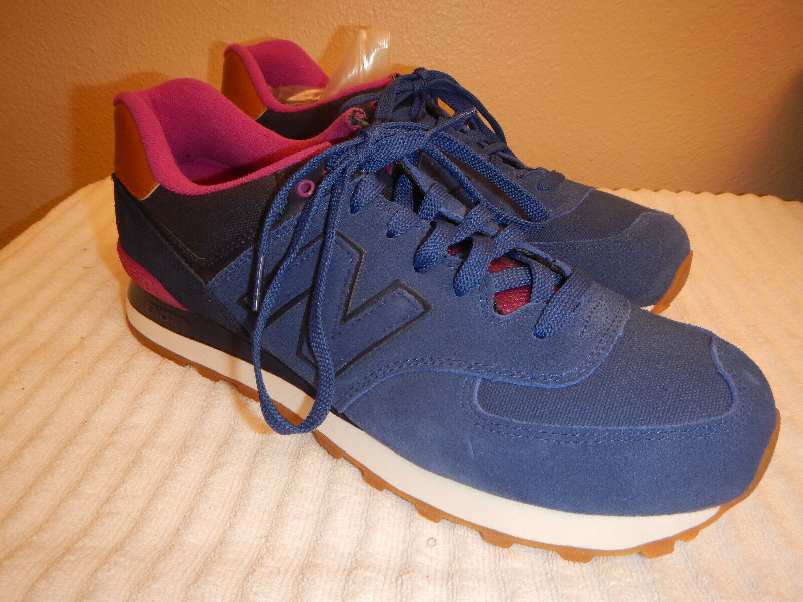 New Balance WL574AMA Womens bluee Pink Classic Sneakers Size 12 W