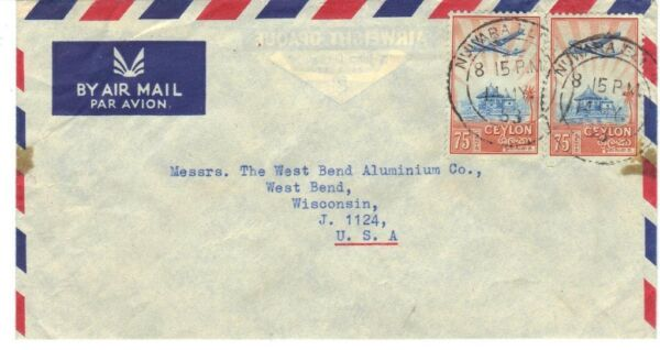 Ceylon 1953 Quitté Eliya Air Mail Cover Pour West Bend Wisconsin