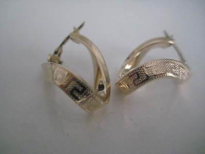 Gold Greek key hoop earrings 9 carat yellow double horseshoe