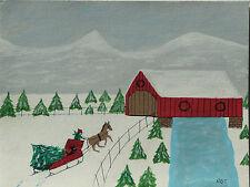 Richard Bosco Chalmers Original Folk Art Outsider Painting Christmas Lark Sedona
