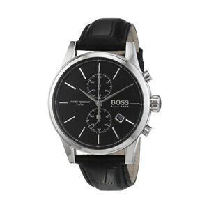 100-New-Hugo-Boss-1513279-Jet-Black-Dial-Leather-Strap-Chronograph-Men-039-s-Watch