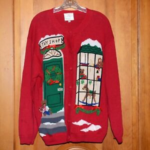 Ugly-Christmas-Sweater-Vintage-Susan-Bristol-Embroidered-Red-Mix-Toy-Shop-XL