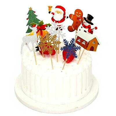 10x Christmas Party Cupcake Toppers Picks Kids Birthday Party Favors Decoration