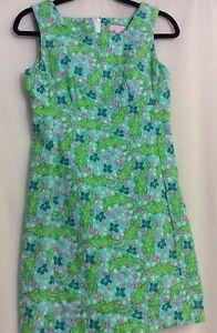 Lilly-Pulitzer-Sheath-Dress-Turquoise-Alberta-Gator-Sz-2-EUC-HTF