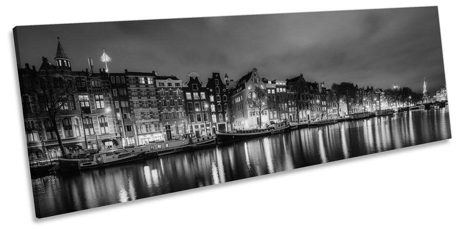 Amsterdam City Night Skyline B&W B&W B&W CANVAS WALL ART Panorama Framed Print f20612