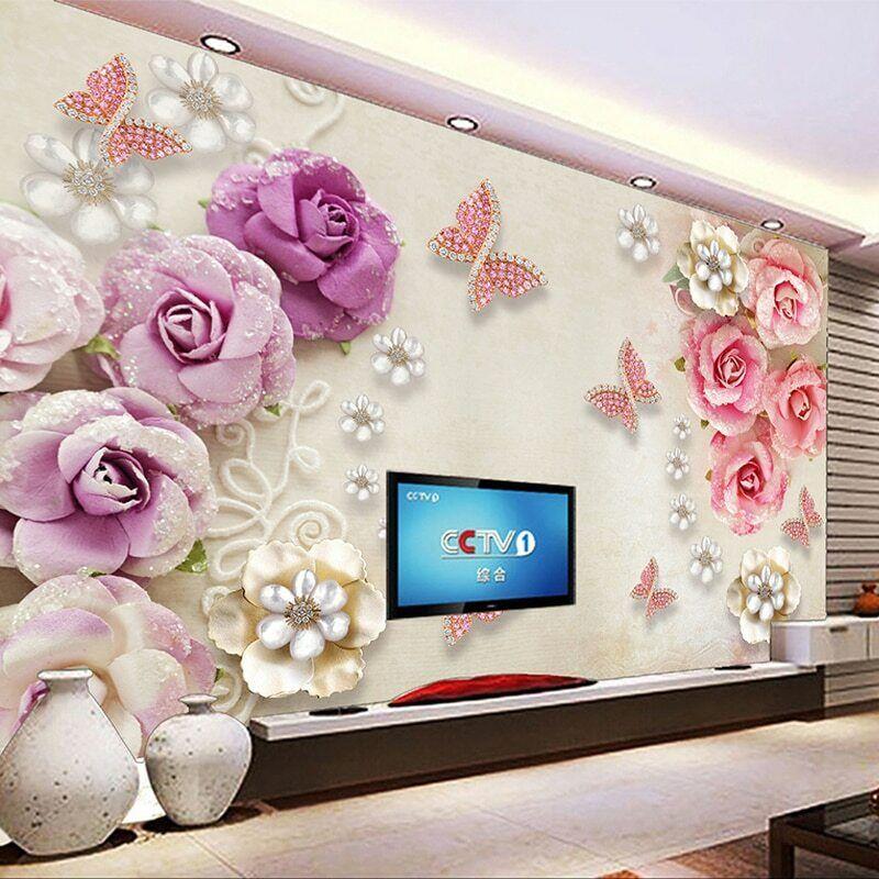 3D Pink Diamond pinks Butterfly Wall Mural Wallpaper Room ...
