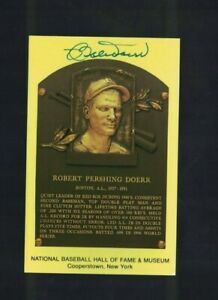Bobby Doerr Boston Red Sox Signed Gold HOF Plaque Postcard W/Our COA F