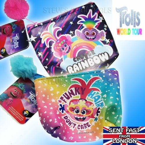 Trolls Porte-Monnaie d/'Argent de poche pochette à glissière Moelleux Bobble Funky cheveux dont care