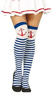 Kompetent Ladies Blue White Striped Anchor Thigh High Fancy Dress Tights Stockings Socks QualitäTswaren