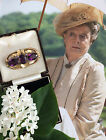 Antique Victorian Downton Dowager Rolled Gold Amethyst Paste Brooch Pin Gift Box