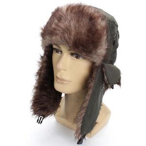 Hommes-Hiver-Chaud-Impermeable-Russe-Ushanka-Bonnet-Trappeur-Bonnet-de-Ski