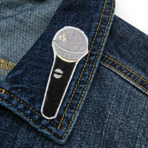 Microphone Iron On Embroidered Patch