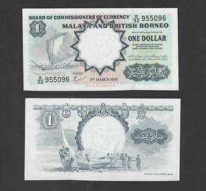 B0123 - Malaya & British Borneo 1 Dollar (1959) B/32 95509x - UNC