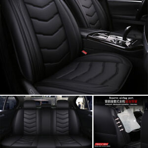 Luxury-PU-Leather-Car-Seat-Covers-Front-amp-Rear-Full-Set-All-Seasons-Universal