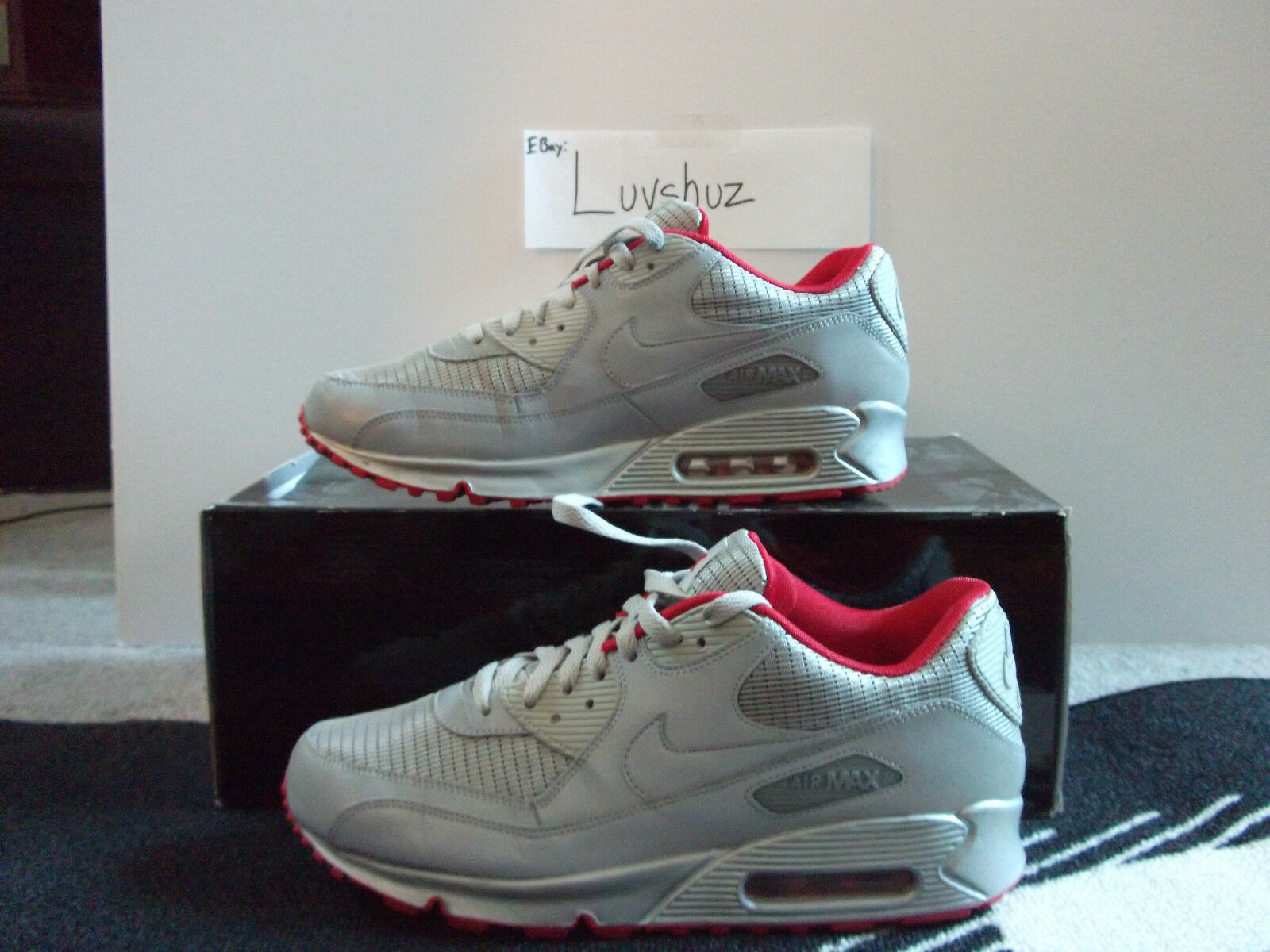 Nike Air Max 90 Metallic Metallic Metallic Silver And Red (3M) sz11 VNDS  Moon landing 943fed