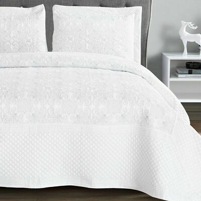 White Cotton Quilted Bedspread Throw