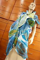 Scarf Felted Summer Shawl Wrap Organic Wool Cotton Gauze Handmade In Europe Gift