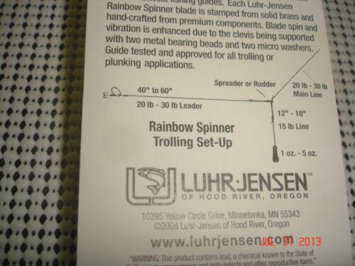 "// 3 1//2/"" Luhr Jensen #7 Rainbow Spinner 1//4oz Metallic Blue Rainbow Color"