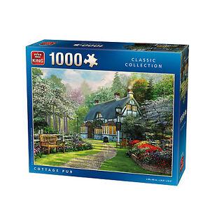 1000-Piece-Jigsaw-Puzzle-Thatch-Country-Cottage-Village-Pub-Garden-Flowers-5356