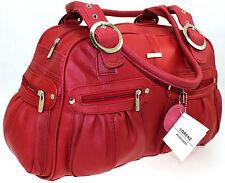Lorenz Large Women Ladies Real Leather Weekend Tote Purse Shoulder Handbag Red