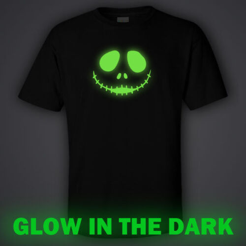 Halloween party BLACK funny GLOW IN DARK T-shirt  SCARY FACE night club