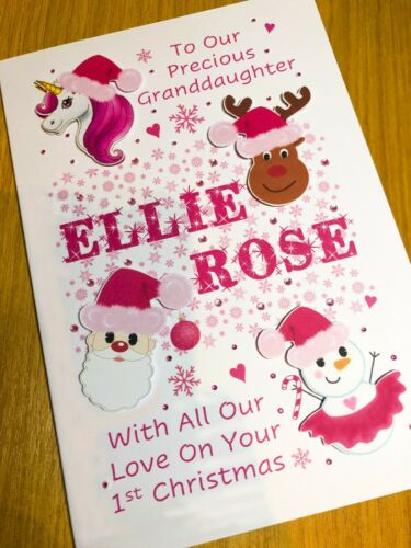 PERSONALISED 1st CHRISTMAS CARD Baby Girl First Xmas Daughter Granddaughter