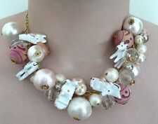 Lenora Dame Faux Pearl, Elephant & Lion Choker Necklace, Gold Tone Muted Pastels