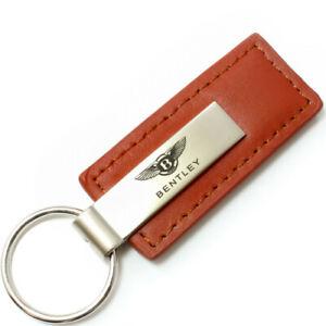 Genuine Brown Leather Rectangular Silver Bentley Logo Key Chain Fob Anello