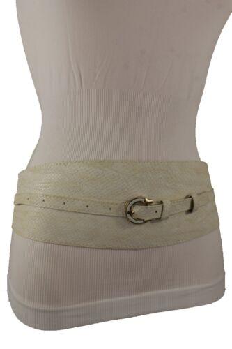 Women Ivory Wrap Around Faux Leather Snake Skin Fabric Wide Waist Hip Belt S M