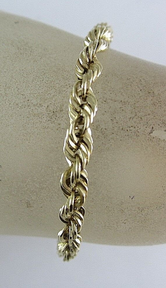 UNISEX 14K YELLOW gold ROPE STYLE CHAIN BRACELET; 11.7G 8-5 8