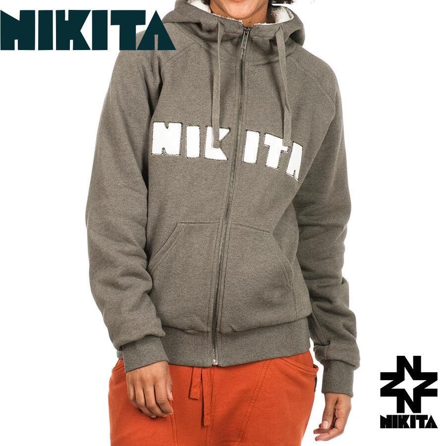 Nikita Rider Rider Rider Women Snowboard Sherpa Full Zip Hoodie M Melange NWT  90 80992c