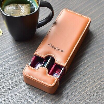 Esterbrook Vegan Tan Brown Leather Double Two Fountain Pen Nook Case
