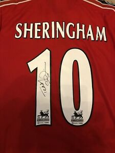 Teddy Sheringham signed Manchester United Jersey 1999