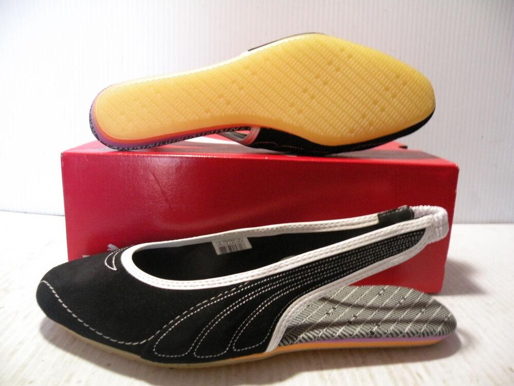 PUMA SLINGY SUEDE Femme chaussures SANDALS noir/blanc 345081-04 Taille 9.5 NEW