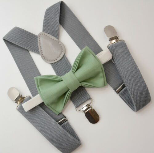 Kids Boys Mens Gray Suspenders /& Dark SAGE Green Bow tie Infant ADULT SET