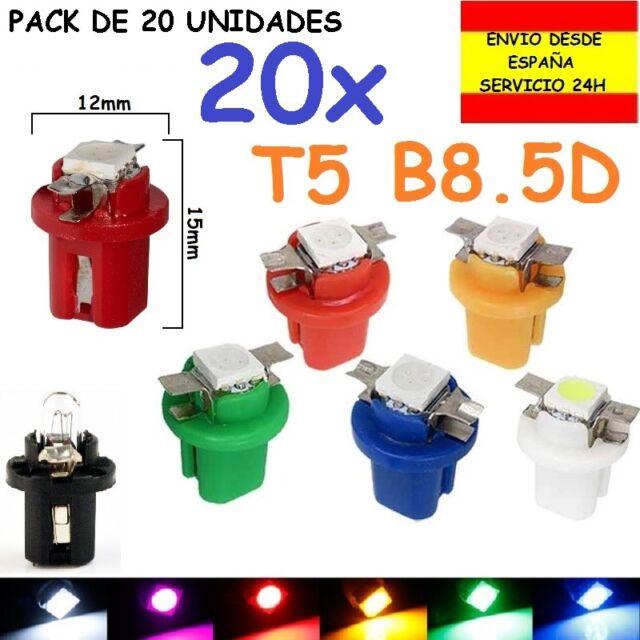 PACK DE 20 T5 B8.5D 1 SMD LED 5050 20X BOMBILLA COCHE MOTO TABLERO RELOJES