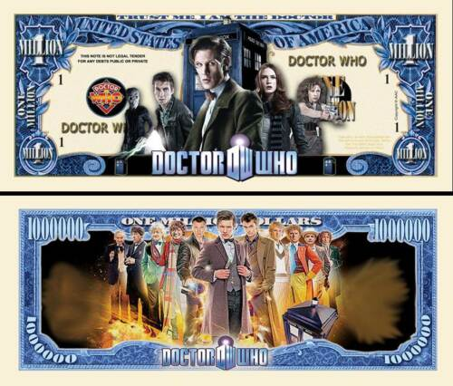 Doctor Who Million Dollar Bill Fake Play Funny Money Novelty Note FREE SLEEVE
