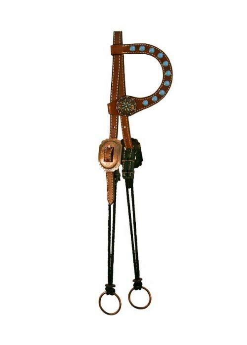 Showman Single Ear Leather Headstall w   TURQUOISE Studs & Concho Accents   NEW    factory outlet online discount sale