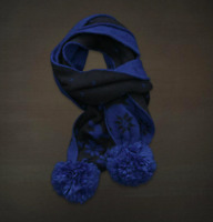 Hollister By A&f Women's Betty's Blue One Size Scarf Blue & Black Pom-poms