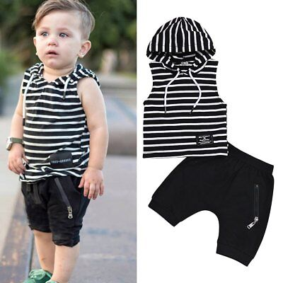 Newborn Baby Boy Kids Summer Hoodie Top+Shorts Pants Clothes Outfit Set 2Pcs New