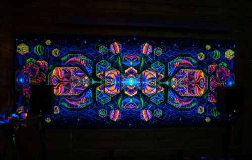 UV blacklight backdrop Psychedelic Tripp Wall hanging tapestry festival decor