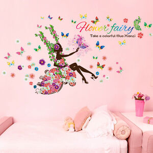 Image Is Loading USA Colorful Flower Fairy Butterfly Girls Kids Room