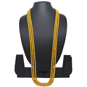 Indian-36-034-Long-Bokul-Chain-Mala-Gold-Plated-Necklace-Casual-Party-Ware-Jewelry