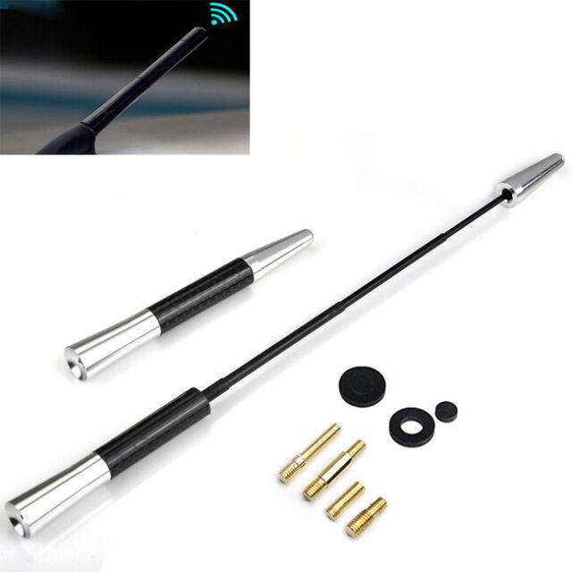 REDline 5 UNIVERSAL Black Real Carbon Fiber Aluminum Short Screw-On Mast Car Antenna