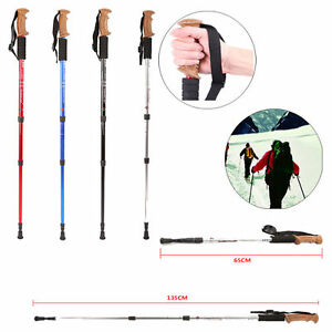 Anti Shock Hiking Walking Trekking Trail Poles Stick Adjustable Canes 3-section