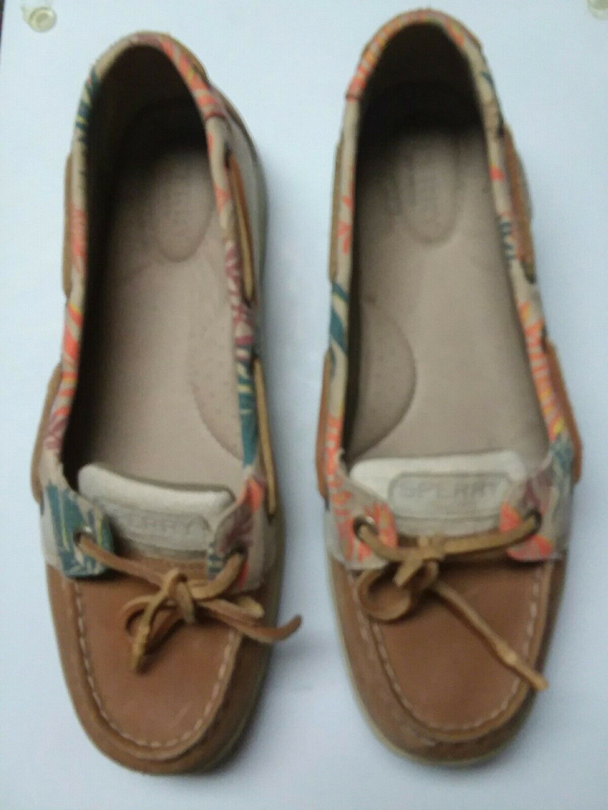 Sperry Womens Beige Floral Print Canvas Boat shoes 9.5M