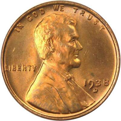 Penny *AU ABOUT UNCIRCULATED*  **FREE SHIPPING** 1938 D Lincoln Cent