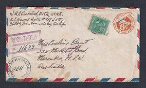 USA 1944 WW2 20C PREXIE ON CENSORED UPRATED REG'D AIRMAIL PS COVER TO AUSTRALIA