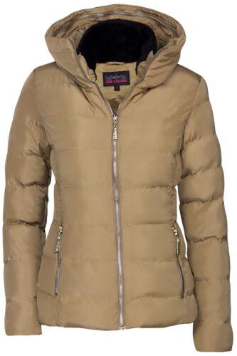 Top Donna Invernale Giacca Corta Stepper ottica piumino cappuccio Giacca sci ORO Zipper